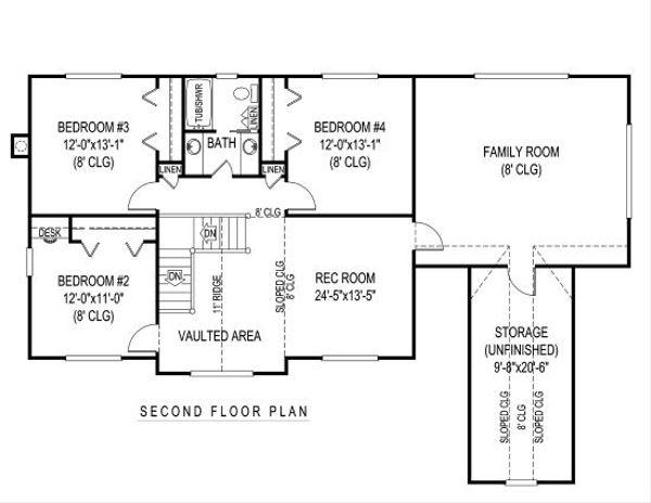 Country Floor Plan - Upper Floor Plan Plan #11-230