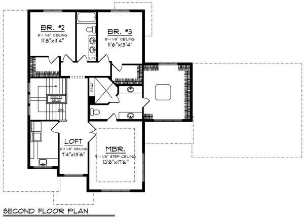 Modern Floor Plan - Upper Floor Plan Plan #70-1431