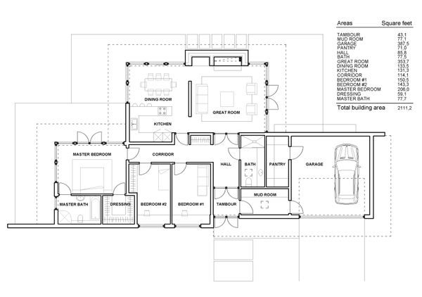 Modern Floor Plan - Main Floor Plan Plan #552-4