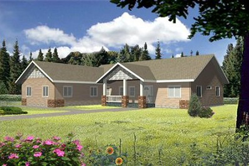 Ranch Exterior - Front Elevation Plan #117-392 - Houseplans.com