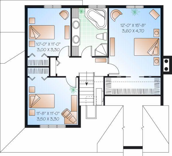 Farmhouse Floor Plan - Upper Floor Plan Plan #23-735