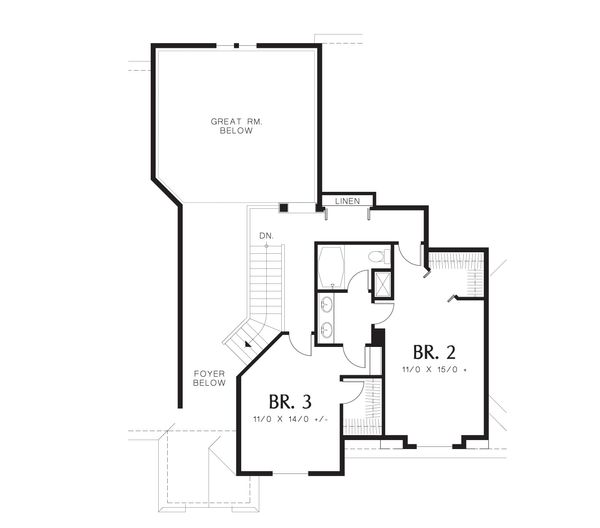 European Floor Plan - Upper Floor Plan Plan #48-610