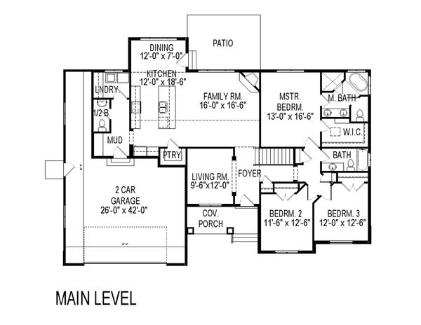 Craftsman Floor Plan - Main Floor Plan Plan #920-38