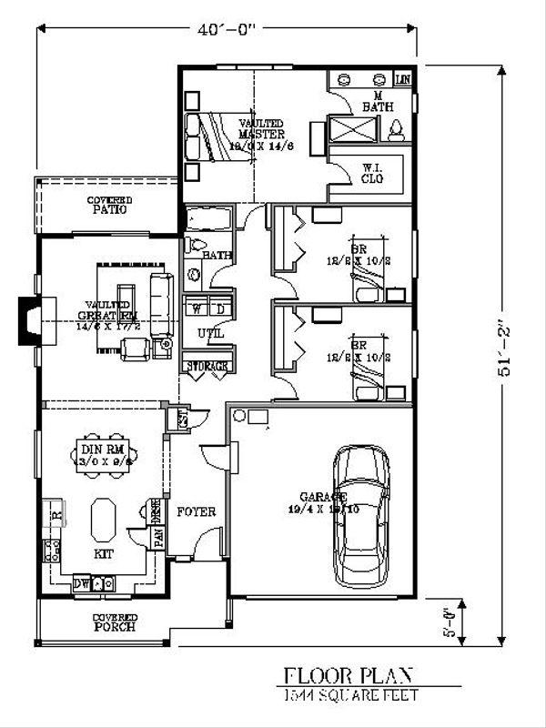 Bungalow Floor Plan - Main Floor Plan Plan #53-420