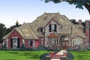 European Style House Plan - 4 Beds 3.5 Baths 3109 Sq/Ft Plan #310-920 Exterior - Front Elevation