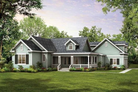 Country Exterior - Front Elevation Plan #72-122
