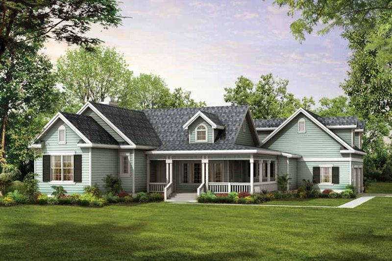 House Blueprint - Country Exterior - Front Elevation Plan #72-122