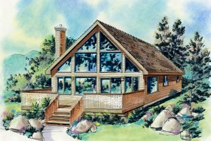 Cabin Exterior - Front Elevation Plan #18-230