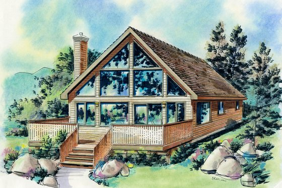 Cabin Exterior - Front Elevation Plan #18-230
