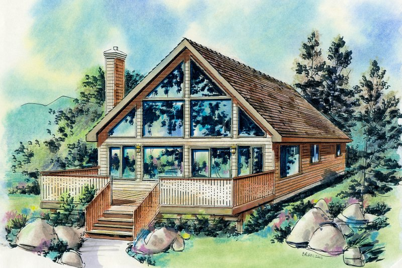 Cabin Style House Plan - 2 Beds 1 Baths 903 Sq/Ft Plan #18-230 Exterior - Front Elevation