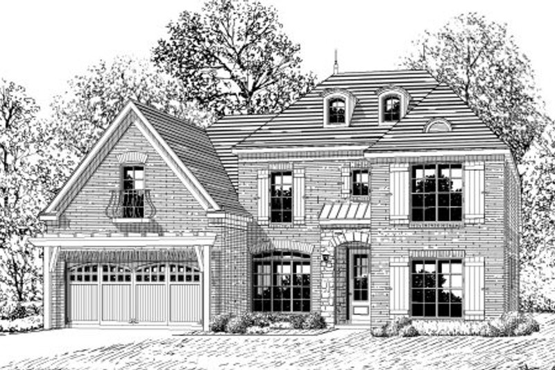 European Style House Plan - 5 Beds 3.5 Baths 2526 Sq/Ft Plan #424-333 Exterior - Front Elevation