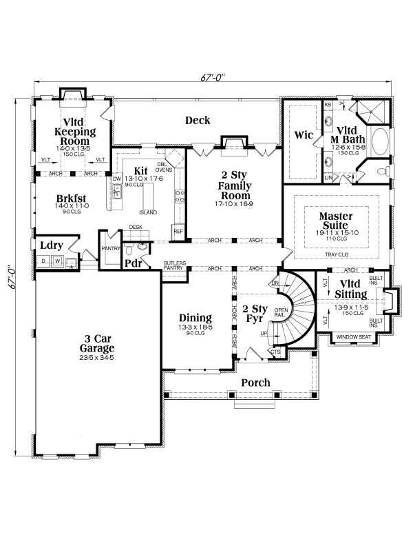 Traditional Floor Plan - Main Floor Plan Plan #419-102
