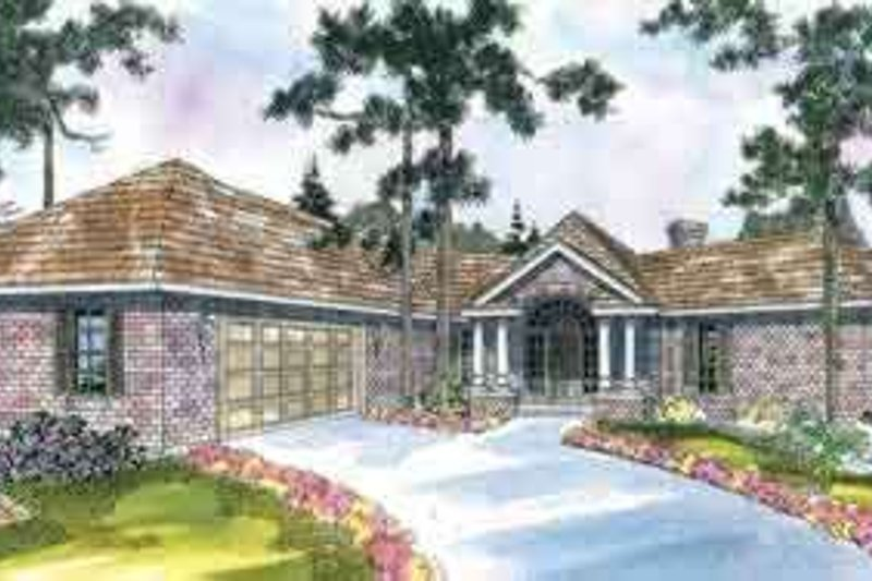 Mediterranean Style House Plan - 3 Beds 2 Baths 2170 Sq/Ft Plan #124-422 Exterior - Front Elevation
