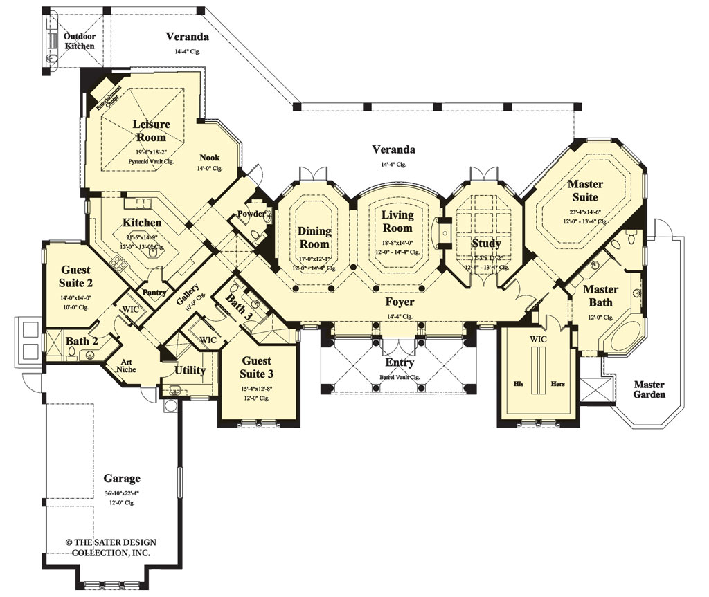 Mediterranean Floor Plan - Main Floor Plan Plan #930-192