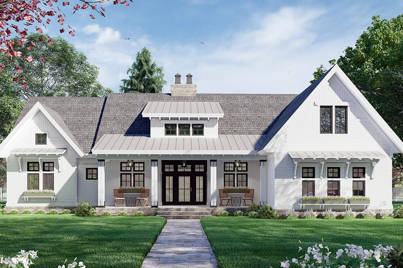 Farmhouse Style House Plan - 3 Beds 2.5 Baths 2396 Sq/Ft Plan #51-1170 Exterior - Front Elevation
