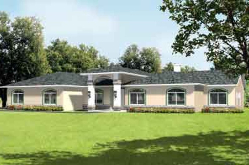 Mediterranean Style House Plan - 4 Beds 2.5 Baths 3000 Sq/Ft Plan #1-742 Exterior - Front Elevation