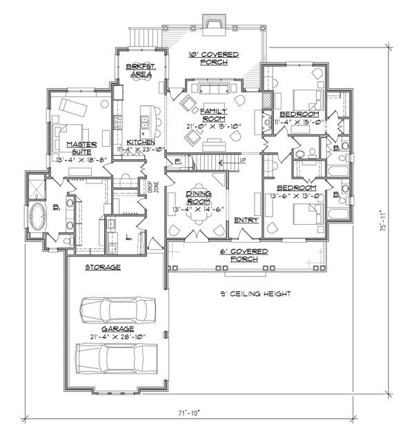 Country Floor Plan - Main Floor Plan Plan #1054-28
