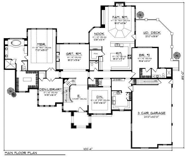 European Floor Plan - Main Floor Plan Plan #70-890