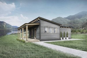 Cabin Exterior - Front Elevation Plan #924-7