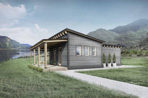 Cabin Exterior - Front Elevation Plan #924-7