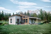 Cabin Style House Plan - 2 Beds 2 Baths 1200 Sq/Ft Plan #924-14 Exterior - Rear Elevation