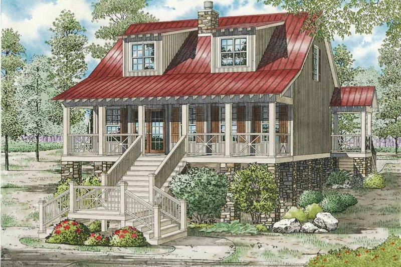 Country Style House Plan - 3 Beds 2 Baths 1451 Sq/Ft Plan #17-2304 Exterior - Front Elevation