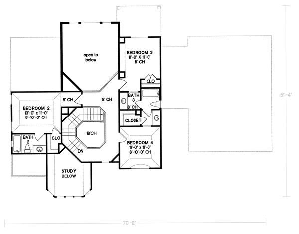European Floor Plan - Upper Floor Plan Plan #20-261
