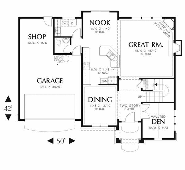 Craftsman Floor Plan - Main Floor Plan Plan #48-539