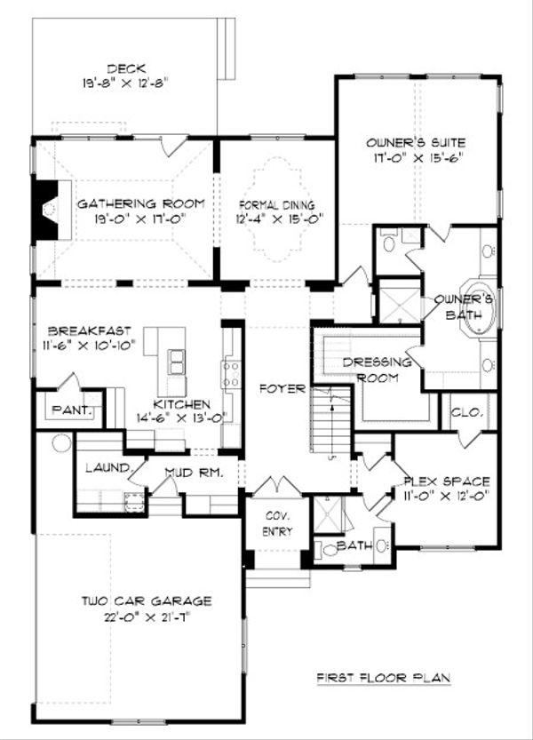 European Floor Plan - Main Floor Plan Plan #413-874
