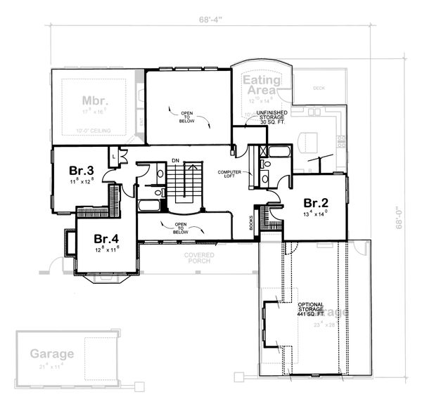 Dream House Plan - Traditional Floor Plan - Upper Floor Plan #20-1555