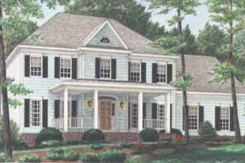 House Plan Design - Colonial Exterior - Front Elevation Plan #34-210