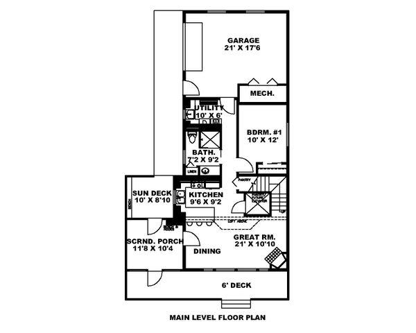 Dream House Plan - Cabin Floor Plan - Main Floor Plan #117-901