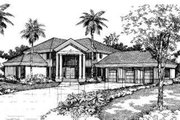 Mediterranean Style House Plan - 4 Beds 3.5 Baths 4532 Sq/Ft Plan #320-136 Exterior - Front Elevation