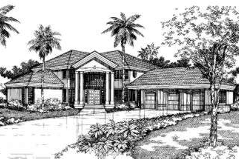 Mediterranean Exterior - Front Elevation Plan #320-136