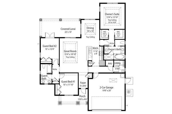 Country Floor Plan - Main Floor Plan #938-30