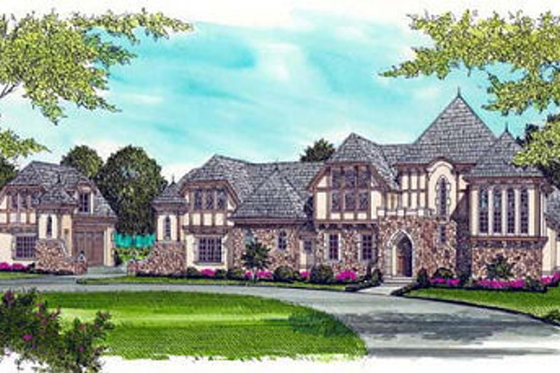 Dream House Plan - Tudor Exterior - Front Elevation Plan #413-127
