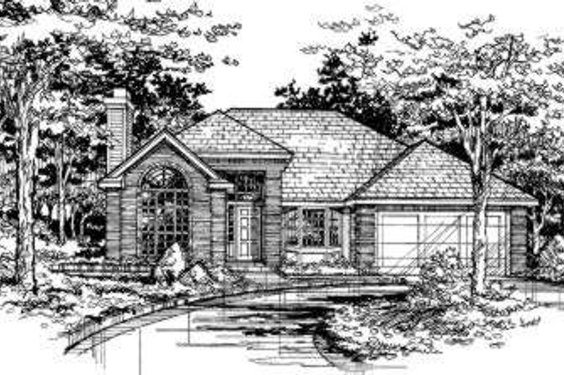 Traditional Style House Plan - 3 Beds 2 Baths 1431 Sq/Ft Plan #320-114 Exterior - Front Elevation