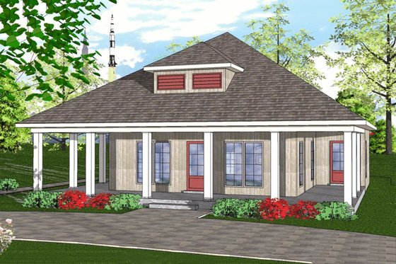 Cottage Exterior - Front Elevation Plan #8-233