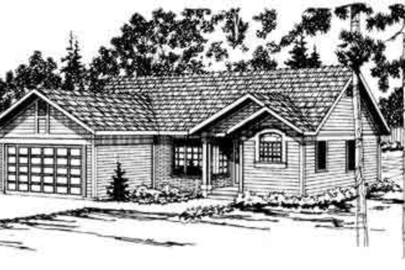 House Plan - 3 Beds 2 Baths 1293 Sq/Ft Plan #124-156 Exterior - Front Elevation