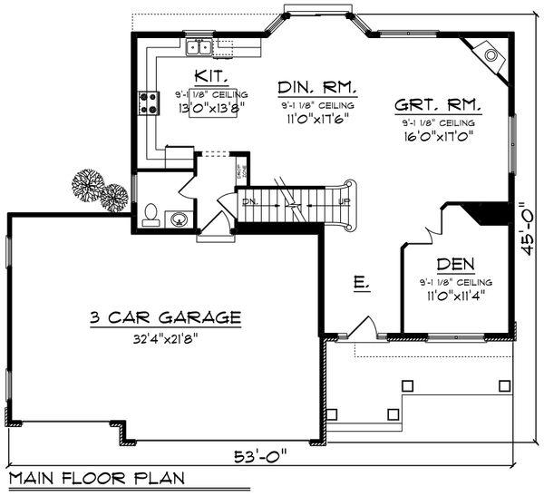 Bungalow Floor Plan - Main Floor Plan Plan #70-1247
