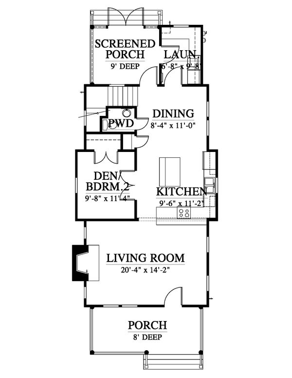 Traditional Style House Plan - 3 Beds 2.5 Baths 1628 Sq/Ft Plan #464-4 Floor Plan - Main Floor Plan