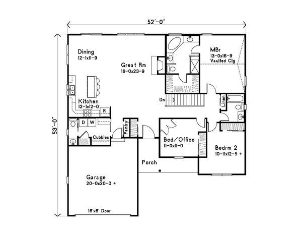 Home Plan - Ranch Floor Plan - Main Floor Plan #22-630