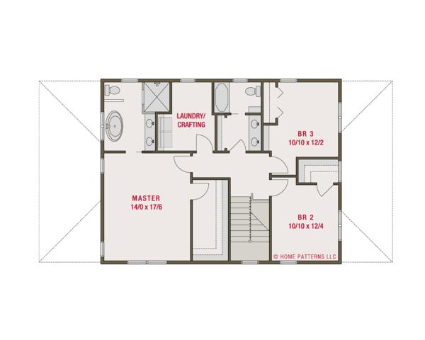 Craftsman Floor Plan - Upper Floor Plan Plan #461-62