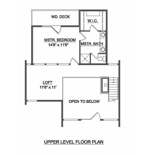 Contemporary Style House Plan - 3 Beds 2 Baths 1155 Sq/Ft Plan #116-110 Floor Plan - Upper Floor Plan