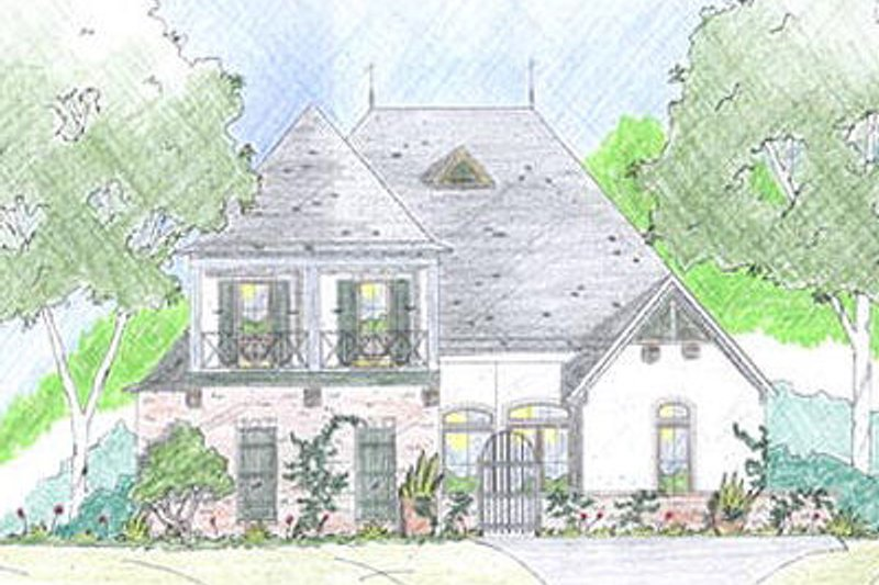 Mediterranean Exterior - Front Elevation Plan #36-461