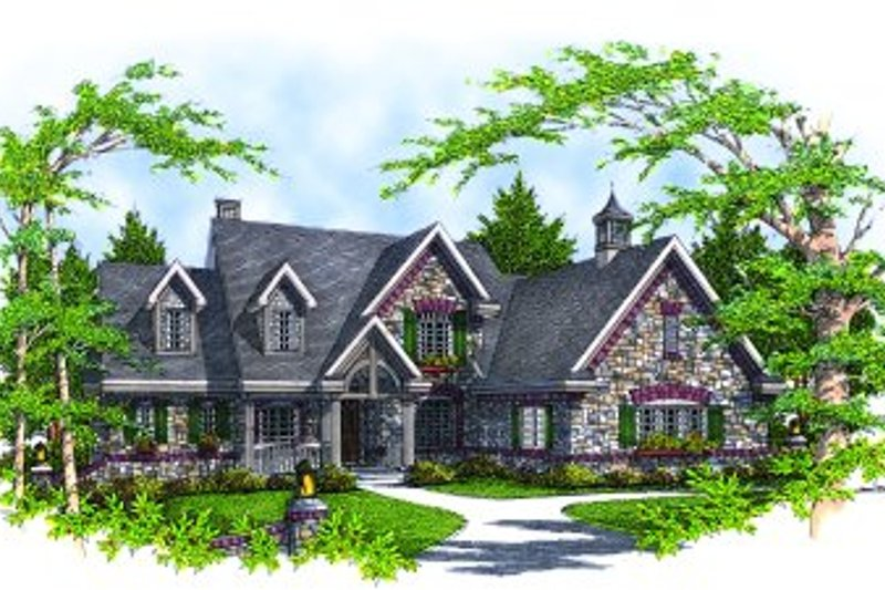 Modern Style House Plan - 4 Beds 2.5 Baths 2994 Sq/Ft Plan #70-471 Exterior - Front Elevation