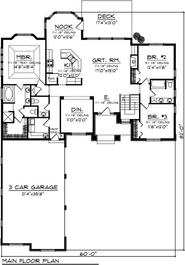 Ranch Floor Plan - Main Floor Plan Plan #70-1098