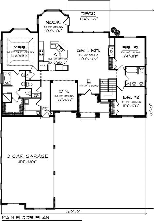 Architectural House Design - Ranch Floor Plan - Main Floor Plan #70-1098