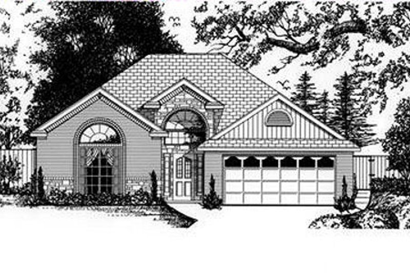 European Style House Plan - 3 Beds 2 Baths 1886 Sq/Ft Plan #62-107 Exterior - Front Elevation