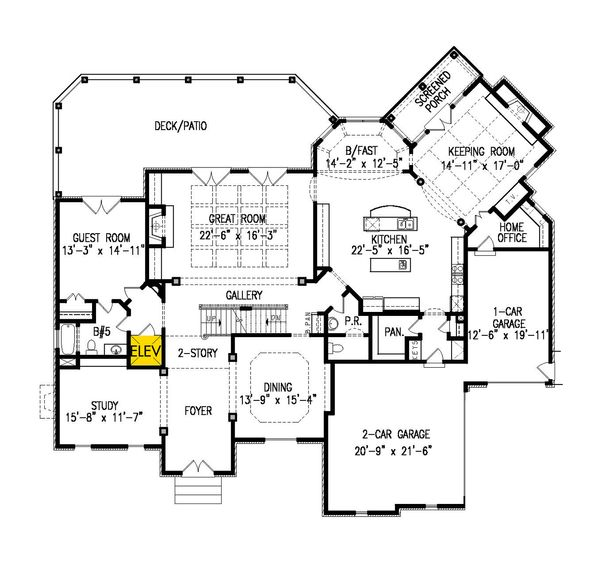 Dream House Plan - Traditional Floor Plan - Main Floor Plan #54-413